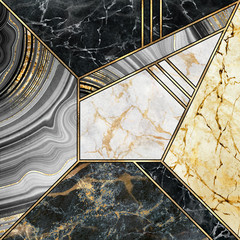 Ingelijste posters Geometrisch abstract art deco background, minimalist geometric pattern, modern mosaic inlay, texture of marble agate and gold, artistic artificial stone design, marbled tile, minimal fashion marbling illustration