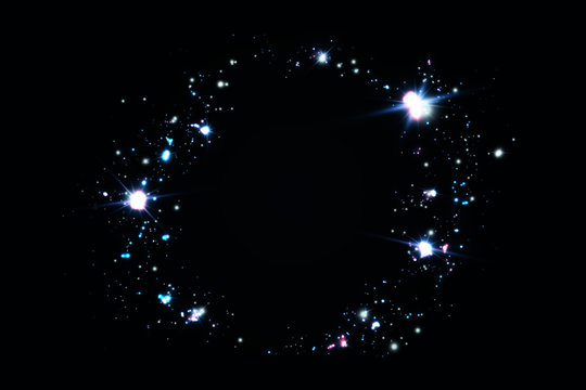Background of blue stars shining in a ring