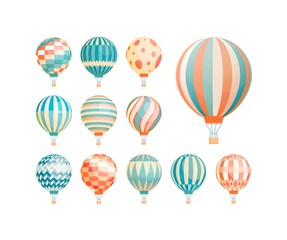 Hot air balloons flat vector illustrations set. Colorful vintage aerial vehicles for flights isolated on white background. Ornate sky ballons, airships with baskets design elements collection.
