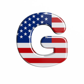 USA letter G - Upper-case 3d american flag font - American way of life, politics  or economics concept