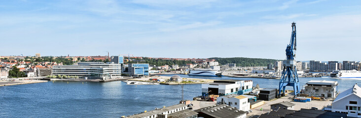 Panorama of the port of Aarhus in Denmark