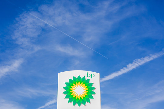 BP logo on its gas service station