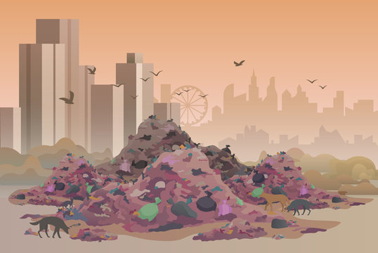 City landfill flat vector illustration. Polluted area, garbage dump background. Heaps of waste, stray dogs and cityscape cartoon backdrop. Junkyard, wasteland. Environment pollution problem concept