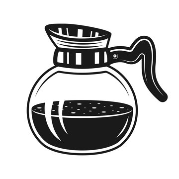 Coffee glass pot vector monochrome illustration