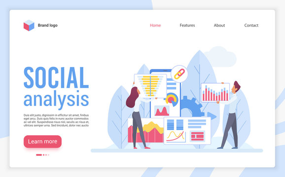 Social analysis landing page flat vector template. Web analytics website design layout. Sociological survey, research statistics webpage cartoon concept. Data visualization web page interface