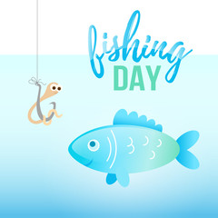 Fishing day illustration with cartoon fish and worm on hook under water