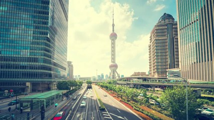 Fotomurales - hyper lapse, road in Shanghai Lujiazui financial center, China