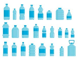 Set of plastic bottles for water