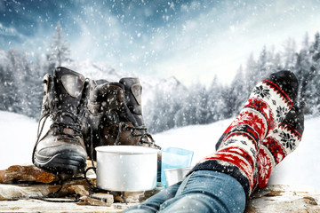 Poster Glisse hiver Winter shoes and free space for your decoration