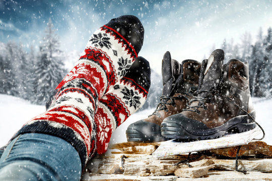 Winter shoes and free space for your decoration