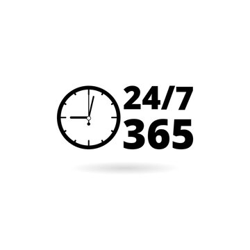 24 7 hours and 365 days icon. Any time working service or support symbol