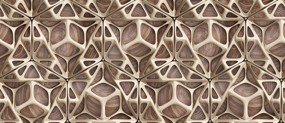 3d glossy golden frame tiles on precious wood background with golden spheres.High quality seamless realistic texture.