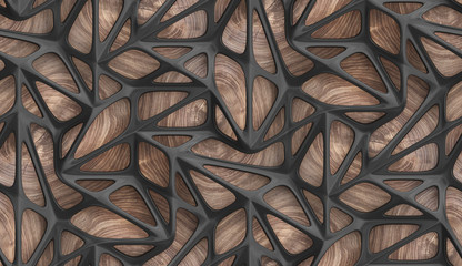 3d Wallpaper glossy black lattice tiles on precious wood background. High quality seamless realistic texture. Wall mural