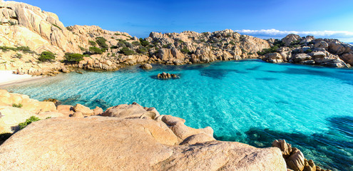 Panoramic view of Cala Coticcio on the island of Caprera, located in the La Maddalena archipelago national park, Sardinia Fototapete
