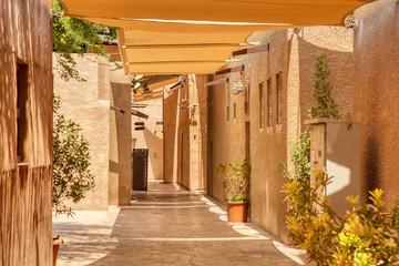 Old Dubai. Traditional Arabic streets in historical Al Fahidi district, Al Bastakiya. Dubai, United...