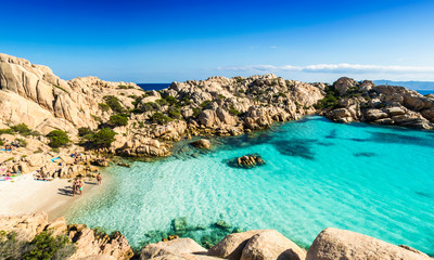 Panoramic view of Cala Coticcio on the island of Caprera, located in the La Maddalena archipelago national park, Sardinia