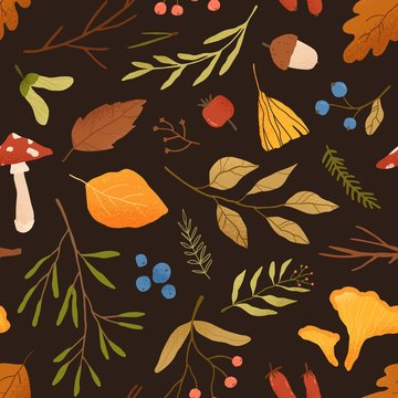 Autumn dried leaves flat vector seamless pattern