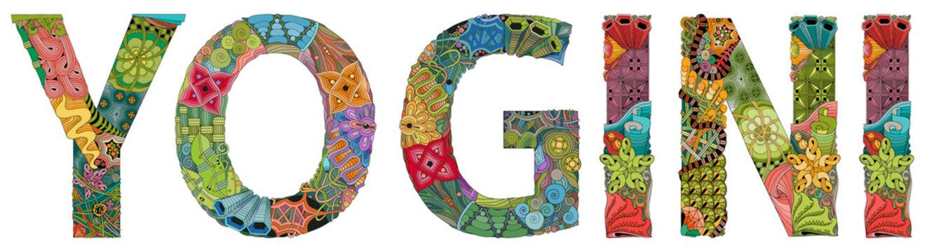 Word YOGI. Vector zentangle object for decoration