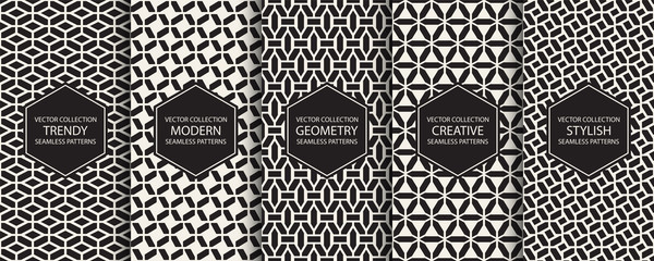 Collection of geometric simple seamless patterns - creative symmetric textures. Vector repeatable minimalistic backgrounds