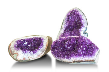Wall Mural - Amethyst crystal, semiprecious gem isolated on white background.