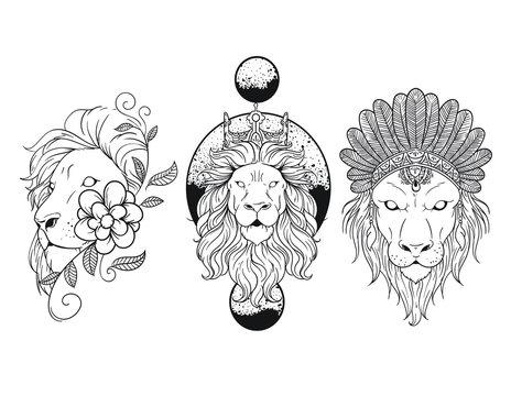 Geometric Floral Lion Tattoo Vector