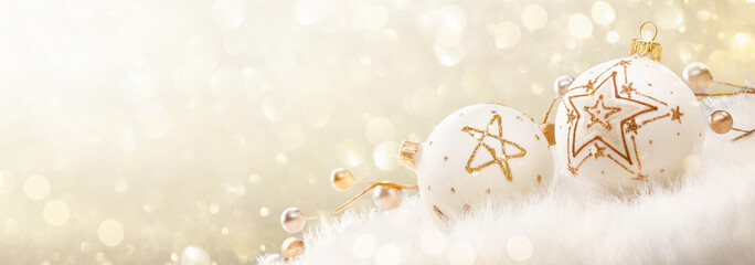 Wall Mural - Christmas Balls With Glitter And Stars