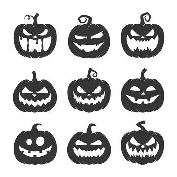 set of black halloween pumpkins