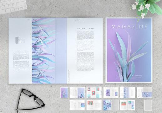 Minimal Magazine Layout with Plant Elements