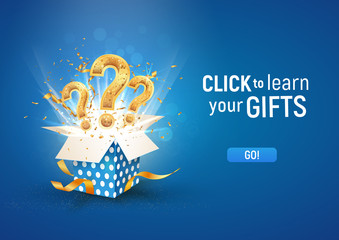 Open textured blue box with question signs and confetti explosion inside and on blue background. Winning gifts lottery vector illustration