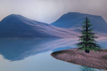 Coniferous tree, a natural landscape, reflection in water and snow on the mountain.