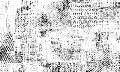 Broken plaster wall effect. Grunge worn damask pattern design. Distressed fabric texture. Overlay texture design. Vector illustration. Eps10.