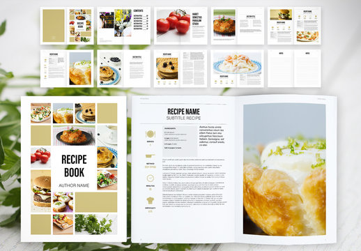Recipe Book Layout with Tan Accents