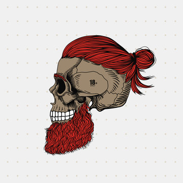 Bearded skull with ginger hair in a bun and tattoo. Stylish men's hairstyle and beard. Picture for halloween, barbershop and clothes.