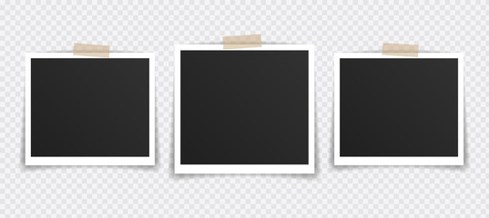 Vector Photo frame mockup design. Photo frame on sticky tape isolated on transparent background. Vector illustration