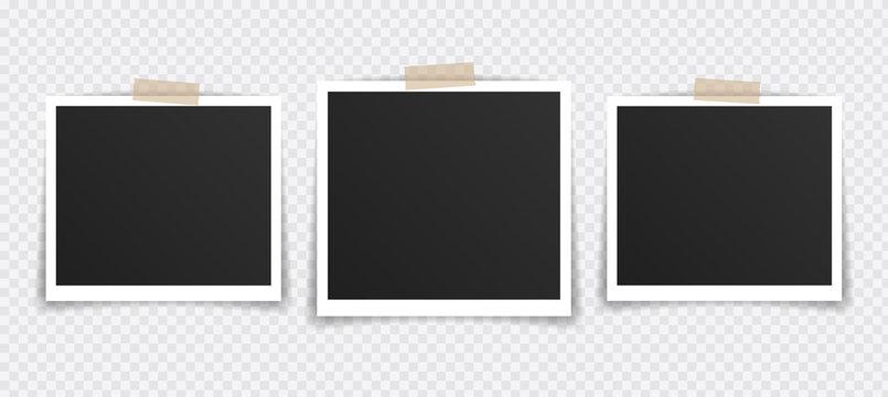 Vector Photo frame mockup design. Photo frame on sticky tape isolated on transparent background. Vector illustration