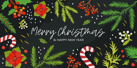 Christmas and happy new year banner, flyer, invitation to a party, poster or landing page with mistletoe, ashberry, poinsettia and other floral and botanical decorations.