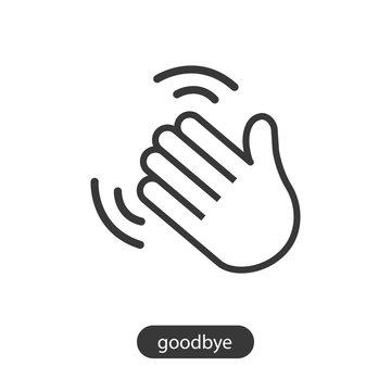 Hand waving icon line symbol.