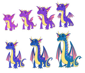 dragons of different ages, vector