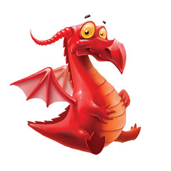 red dragon, isolated on white