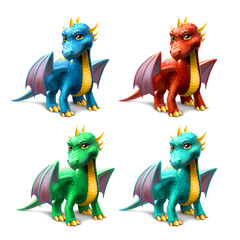 set of dragons isolated on white