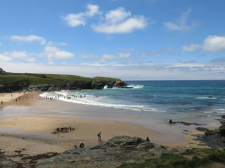 Treyaron beach form the YHA at the start of a surfing day