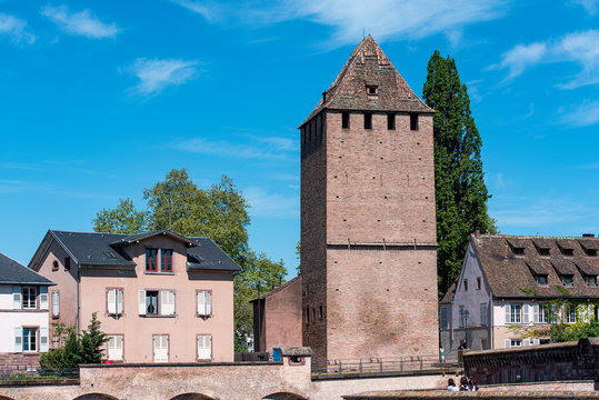 View of Henry Towers near Barrage Vauban, old medieval Tower in Strasbourg