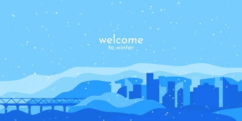 Minimalistic vector winter landscape. Flat style background. Blue wallpapers. City with transport connections. The train goes over the bridge. Web design. Template with free space for text. Snowfall.