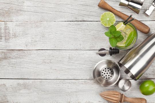 Cocktail utensils. Set of bar tools