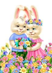 two loving rabbit in flowers