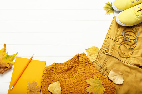 Fashion clothing with autumn leafs and notepad on white wooden table