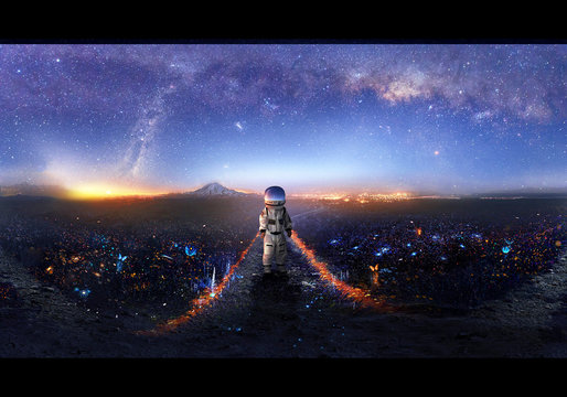 Artistic illustration of an astronaut exploring new world in other dimension