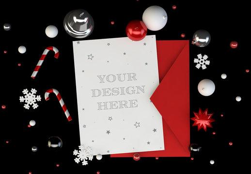 Christmas Card with Envelope on Black Background Mockup