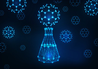 Futuristic science background with glowing low polygonal flask and fullerene buckyball molecules.
