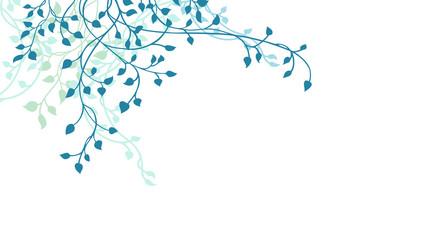 Leaves and ivy vine design element in blue on white background, corner border design in floral spring climbing vine silhouette or outline